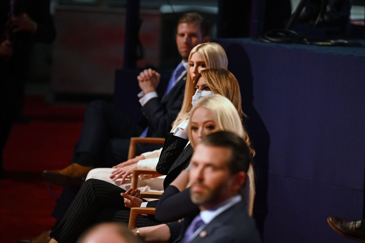 Trump's family sitting and watching the debate.