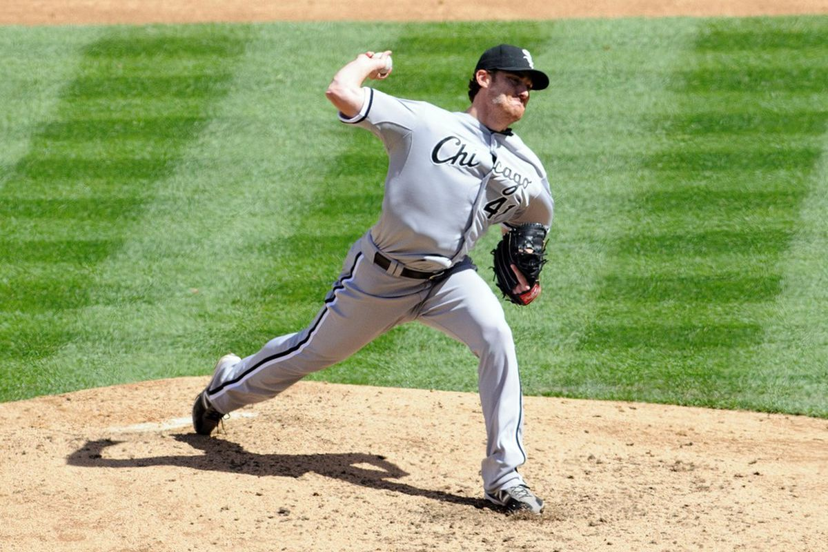 Apr 21, 2012; Seattle, WA, USA; Chicago White Sox starting pitcher Philip Humber (41) pitches to the Seattle Mariners during the 3rd inning at Safeco Field. Mandatory Credit: Steven Bisig-US PRESSWIRE