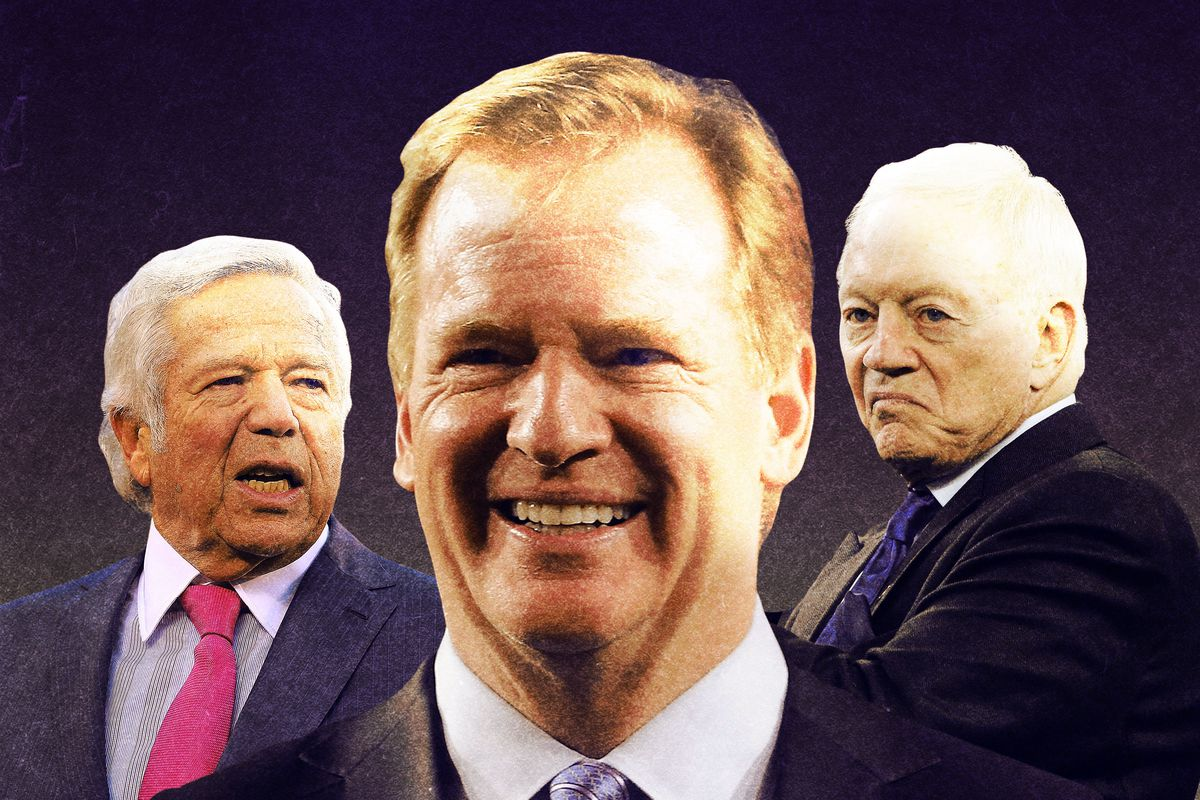 NFL commissioner Roger Goodell with team owners Robert Kraft and Jerry Jones