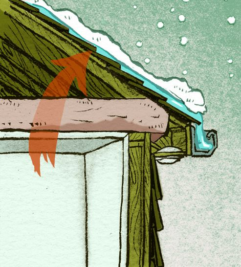 The birth of an ice dam: Warmth from the attic heats everything but eaves