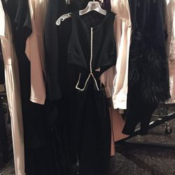 Cushnie et Ochs black viscose dress with side cut-outs and pearls, $478.50 (was $1,595)
