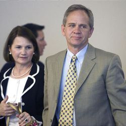 Lois and Ed Smart leave Judge Judith Atherton's courtroom at the conclusion of Wanda Barzee's sentencing.