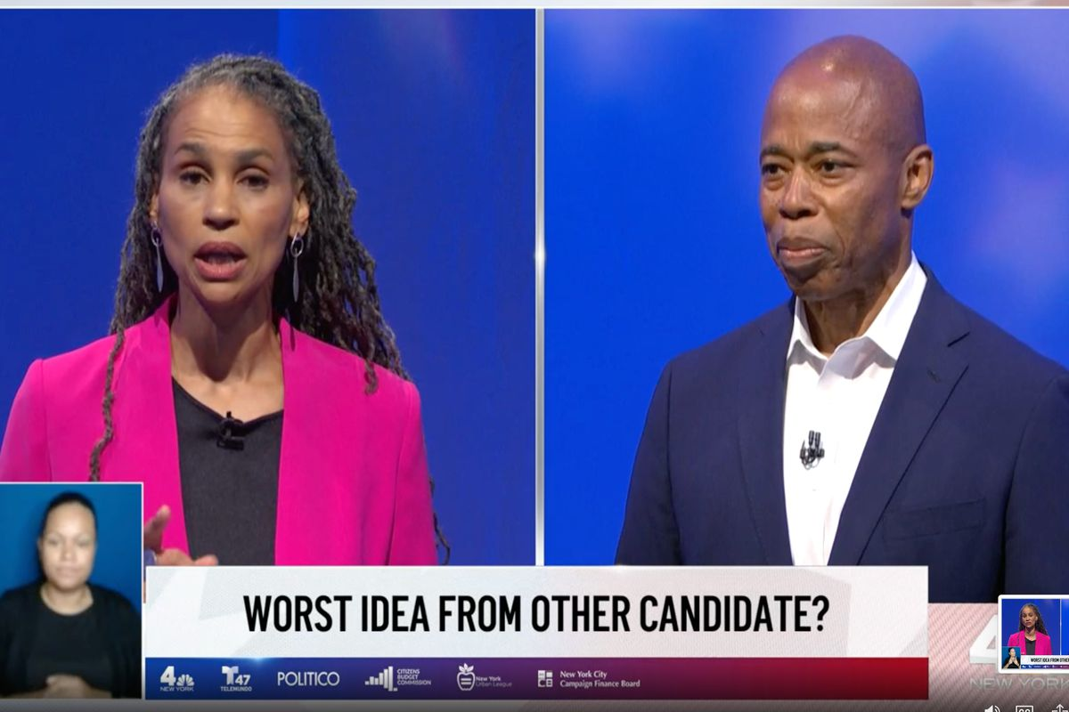 Mayoral candidate Maya Wiley criticized Brooklyn Borough President Eric Adams' policing plans during the final debate of the race, June 16, 2021.