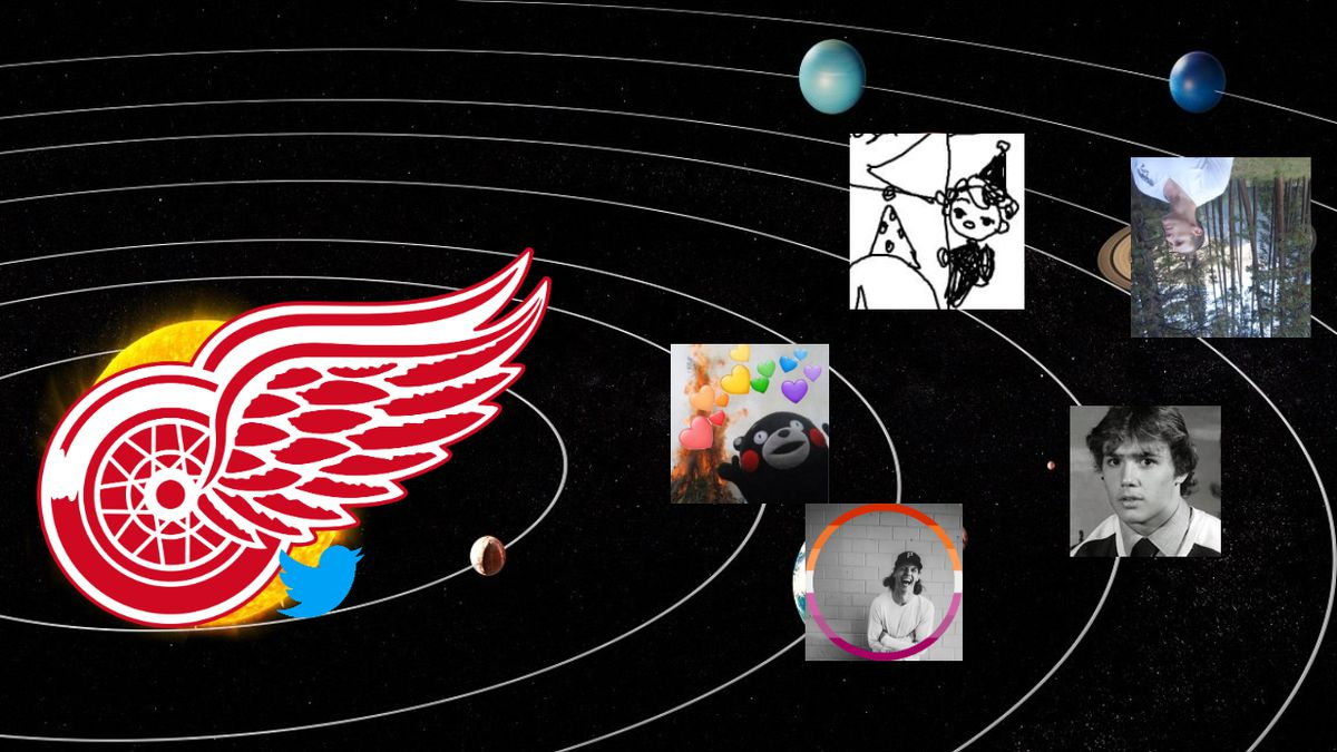 Red Wings logo with Hockey Twitter icons in its orbit