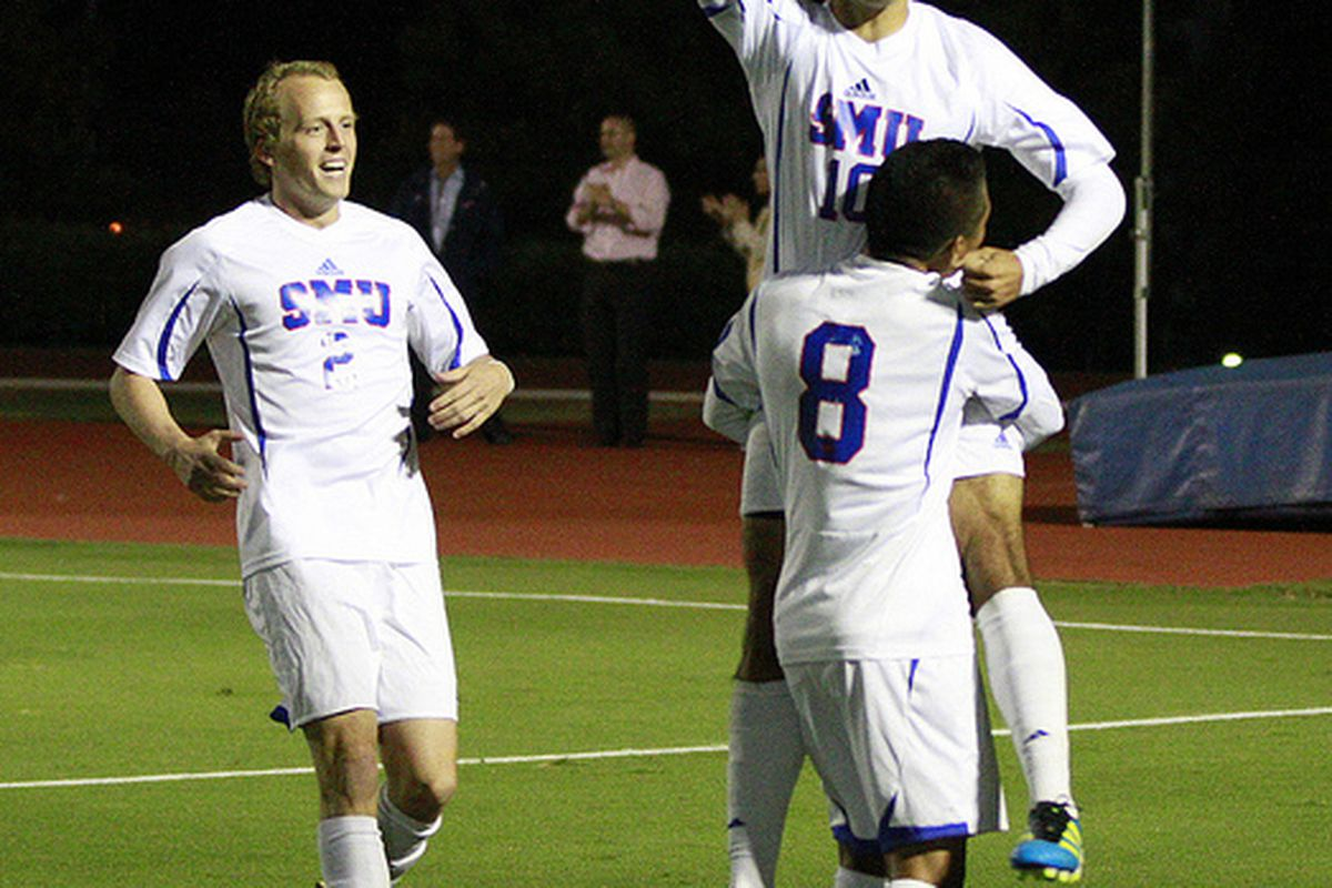 Ivo, Damen Rosales and Payton Hickey celebrate SMU's second goal (Pablo Serna/Anres Photography)
