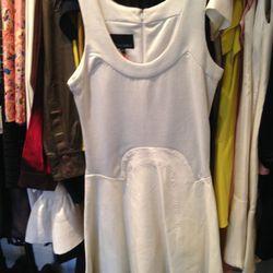 Leather-skirted dress, $99