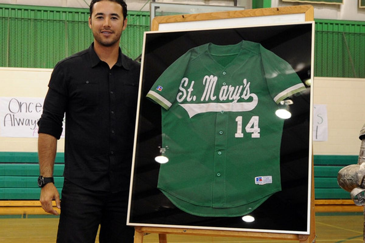 """Andre Ethier had his number retired at St. Mary's High School this morning (Photo credit: <a href=""""http://twitpic.com/1ap288"""" target=""""new"""">LA Dodgers</a>)"""