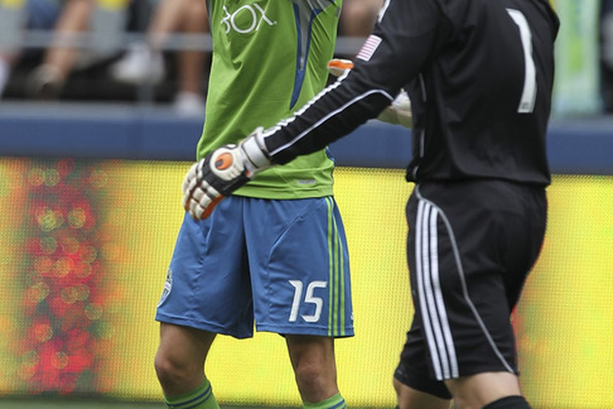 SEATTLE - AUGUST 13:  Alvaro Fernandez #15 of the Seattle Sounders FC reacts after missing a goal against goalkeeper Dan Kennedy #1 of Chivas USA at CenturyLink Field on August 13, 2011 in Seattle, Washington. (Photo by Otto Greule Jr/Getty Images)