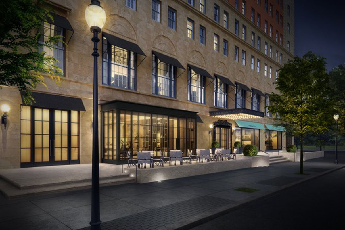 A rendering of a hotel