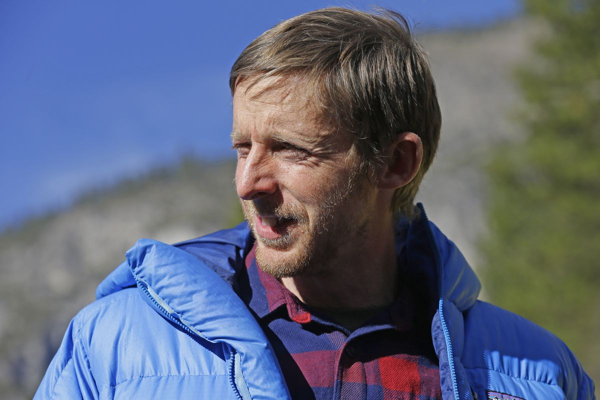FILE - In this Jan. 15, 2015, file photo,climber Tommy Caldwell speaks during a news conference in El Capitan meadow in Yosemite National Park, Calif.