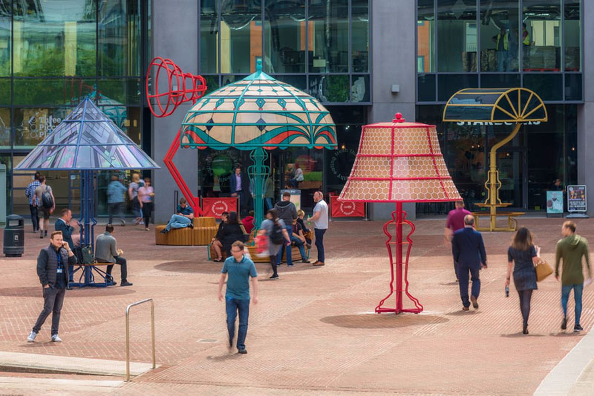 Giant lamps and people