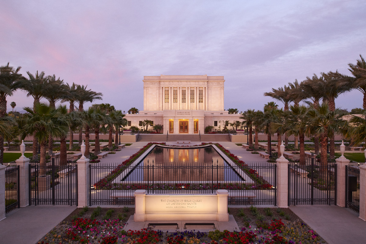 The newly renovated Colonial Revival–style Mesa Arizona Temple showing the main entrance (west side).