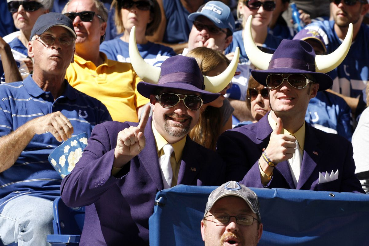 Sep 16, 2012; Indianapolis, IN, USA; Minnesota Vikings fans watch their team play against the Indianapolis Colts at Lucas Oil Stadium. Indianapolis defeats Minnesota 23-20. Mandatory Credit: Brian Spurlock-US PRESSWIRE