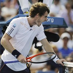 Britain's Andy Murray reacts while playing against Tomas Berdych, of the Czech Republic, during a semifinal match at the 2012 US Open tennis tournament,  Saturday, Sept. 8, 2012, in New York.