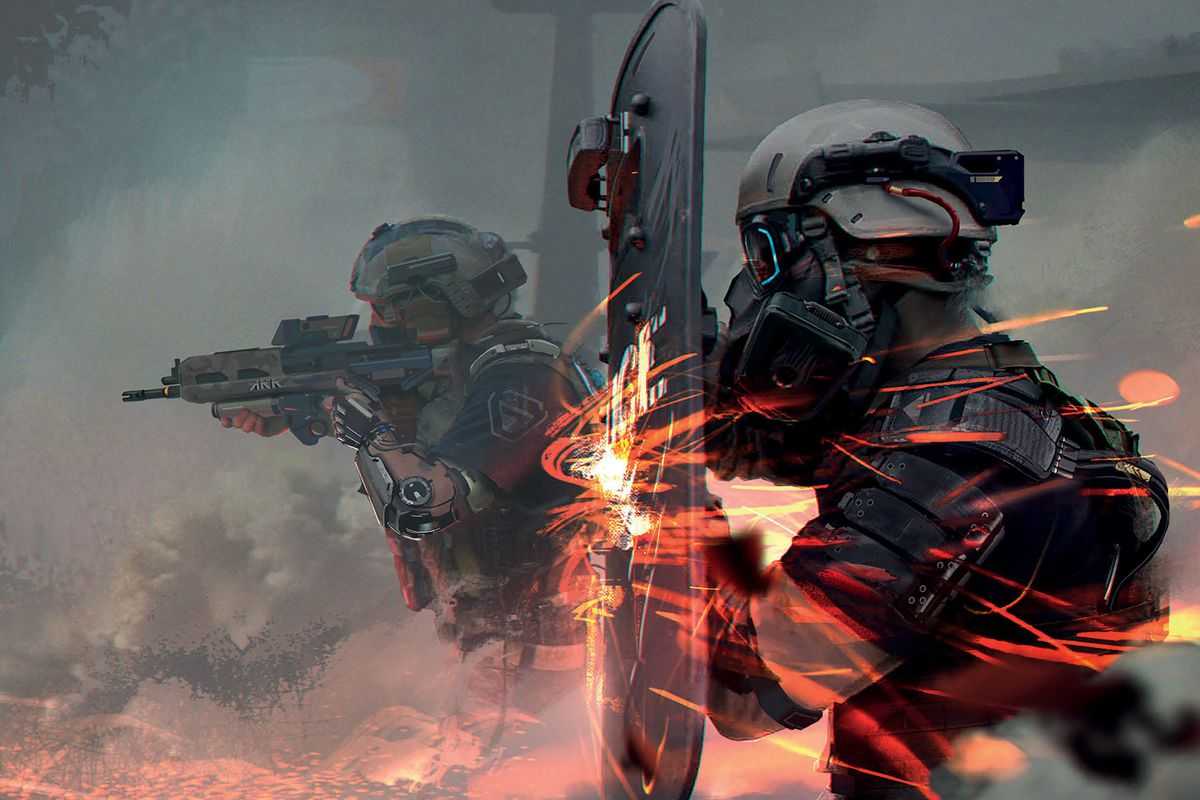 Wreathed by smoke, a soldier advances with an assault rifle at the ready. In the foreground his comrade steadies a riot shield against a withering barrage of automatic gunfire.