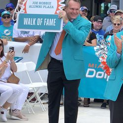 John Offerdahl unveils his place in the Miami Dolphins Walk of Fame on December 2, 2018 in a ceremony in the Joe Robbie Alumni Plaza at Hard Rock Stadium, Miami Gardens, Florida.