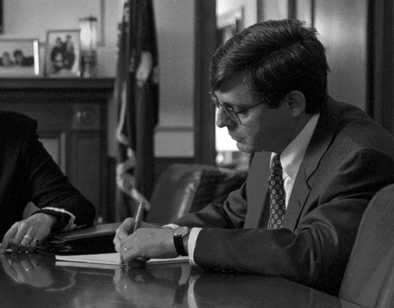 Garland working with the Justice Department in the 1990s. Bill O'Leary/The Washington Post/Getty Images