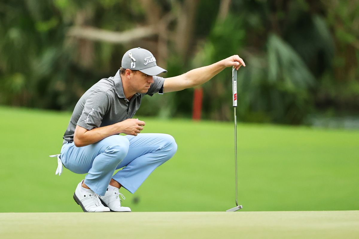 Justin Thomas of the United States lines up a putt on the 17th green during the first round of the Mayakoba Golf Classic at El Camaleón Golf Club on December 03, 2020 in Playa del Carmen, Mexico.