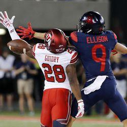 Utah Utes defensive back Javelin Guidry breaks up a pass to Arizona Wildcats wide receiver Tony Ellison in Tucson, Arizona, on Friday, Sept. 22, 2017. Utah beat Arizona 30-24.