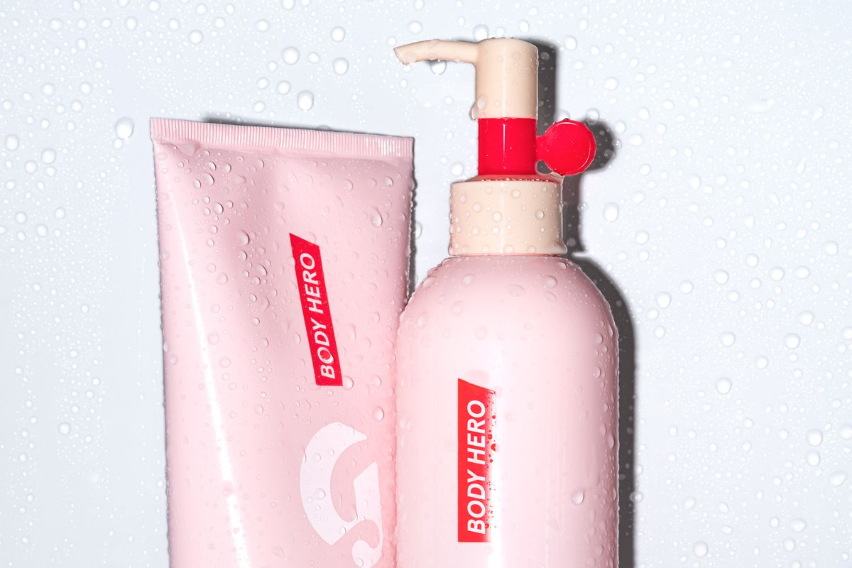 Glossier's new body cleanser and lotion.