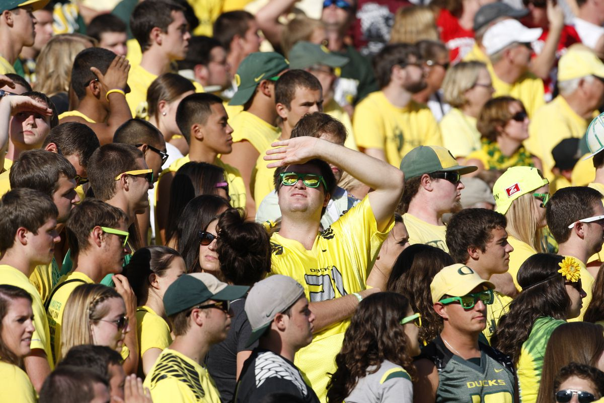 University of Oregon football fans at a game in 2012. The state is in the early stages of a plan that would eliminate tuition bills.