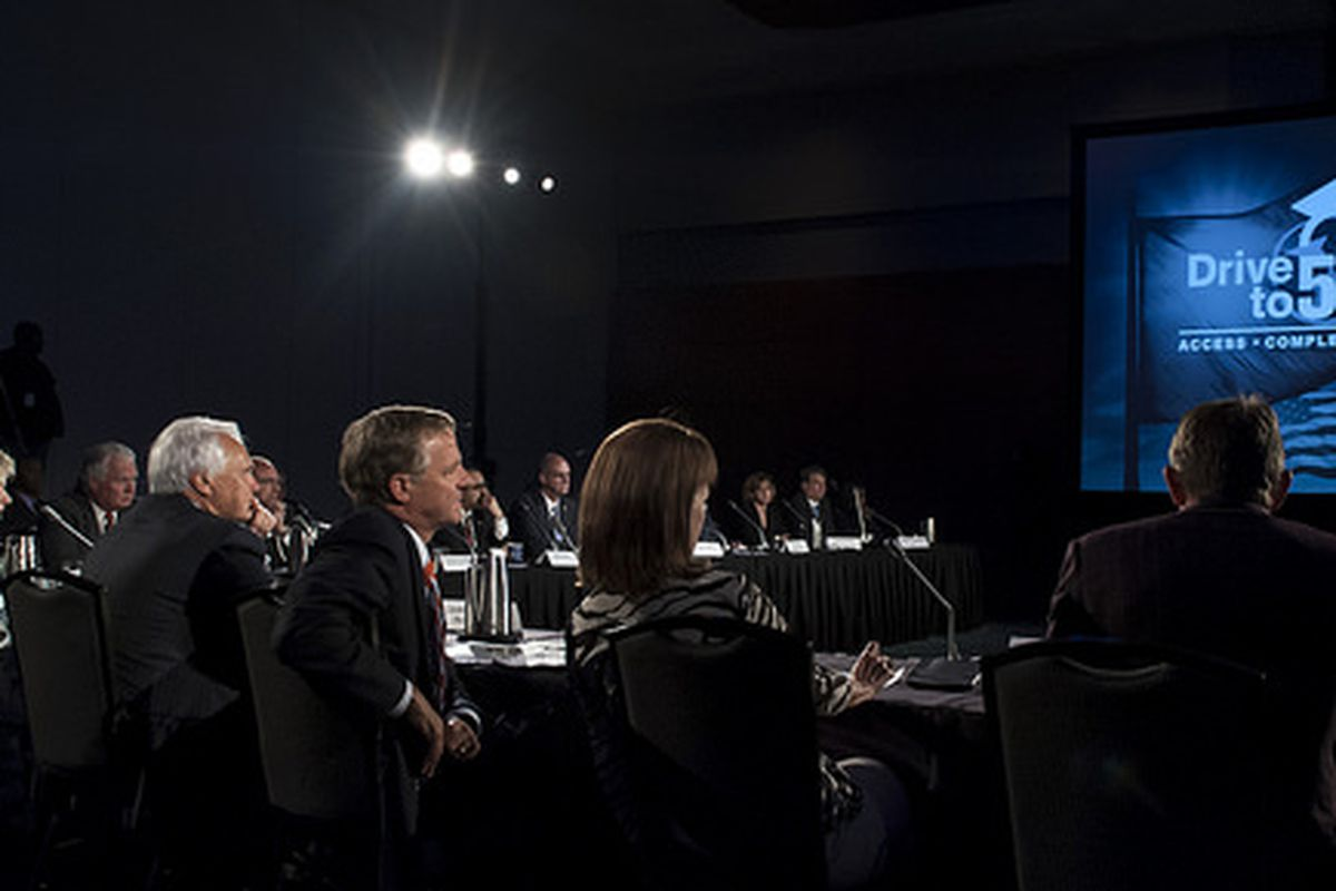 Gov. Bill Haslam moderates the Drive to 55 Summit in Nashville, bringing together government, business and education leaders to discuss how to prepare students for college and work.