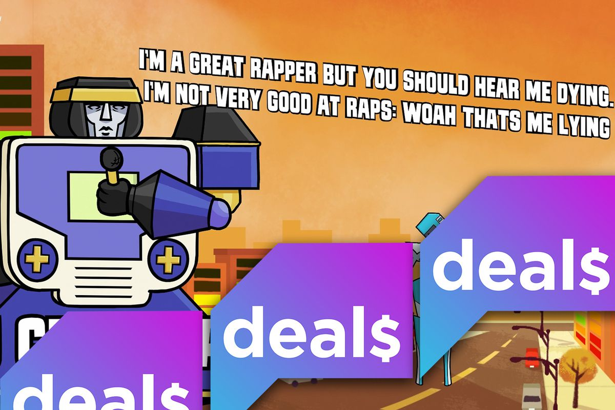 A screenshot from the Jackbox game Mad Verse City overlaid with the Polygon Deals logo