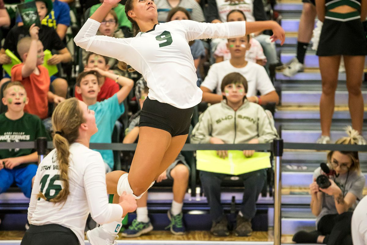 Utah Valley freshman outside hitter Kazna Tarawhiti (center) goes for an attack on Sept. 27, against California Baptist. On Thursday, Tarawhiti led UVU with a double-double of 24 kills and 15 digs in a tightly-contested setback at New Mexico State.