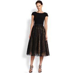 "<b>Theia</b> Belted Crepe & Glittered Lace Dress, <a href=""http://www.saksfifthavenue.com/main/ProductDetail.jsp?FOLDER%3C%3Efolder_id=2534374306422146&PRODUCT%3C%3Eprd_id=845524446599256&R=628710800828&P_name=Theia&N=306422146&bmUID=k9Ucpln"">$595</a> at"