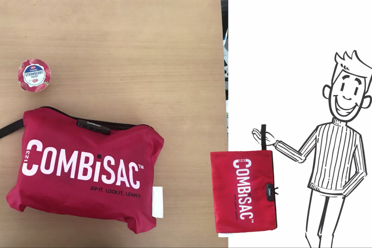 A photograph of the Combisac sandwich bag, with a lock to prevent workplace lunch theft