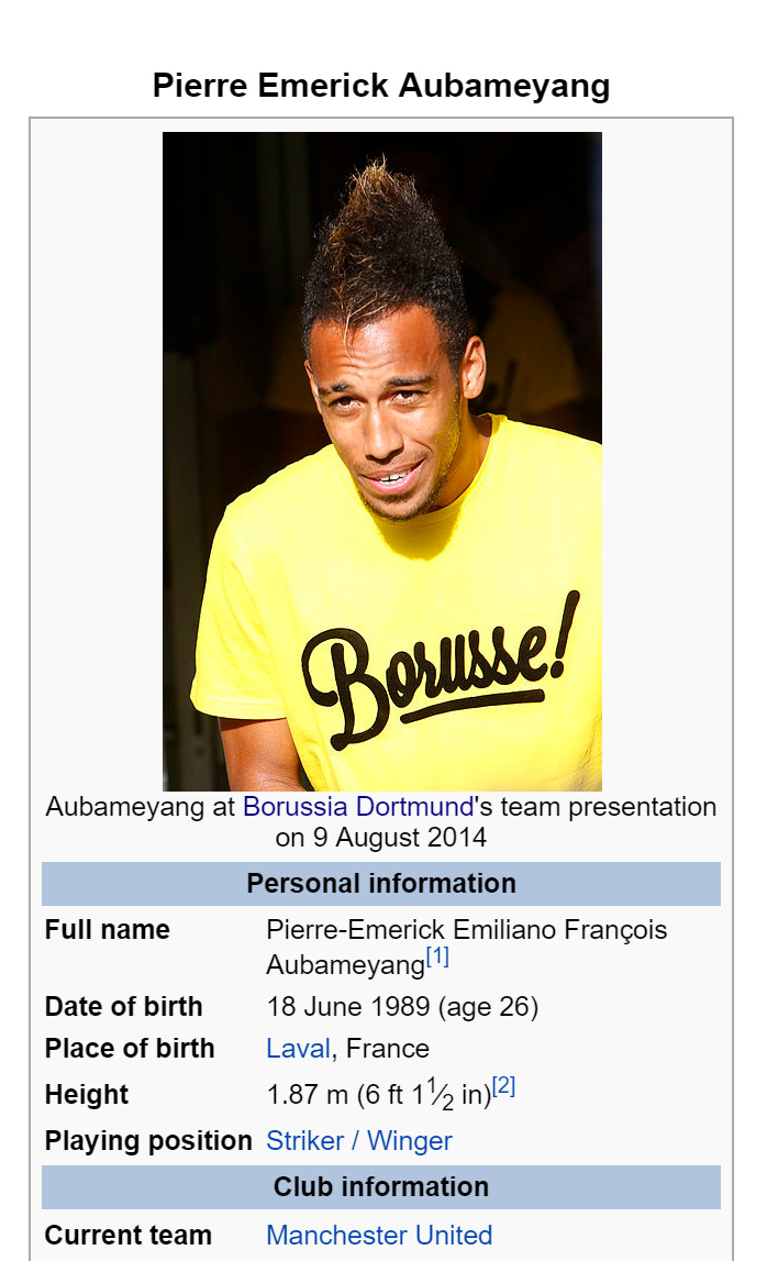 United fans have infiltrated Auba's Wikipedia page