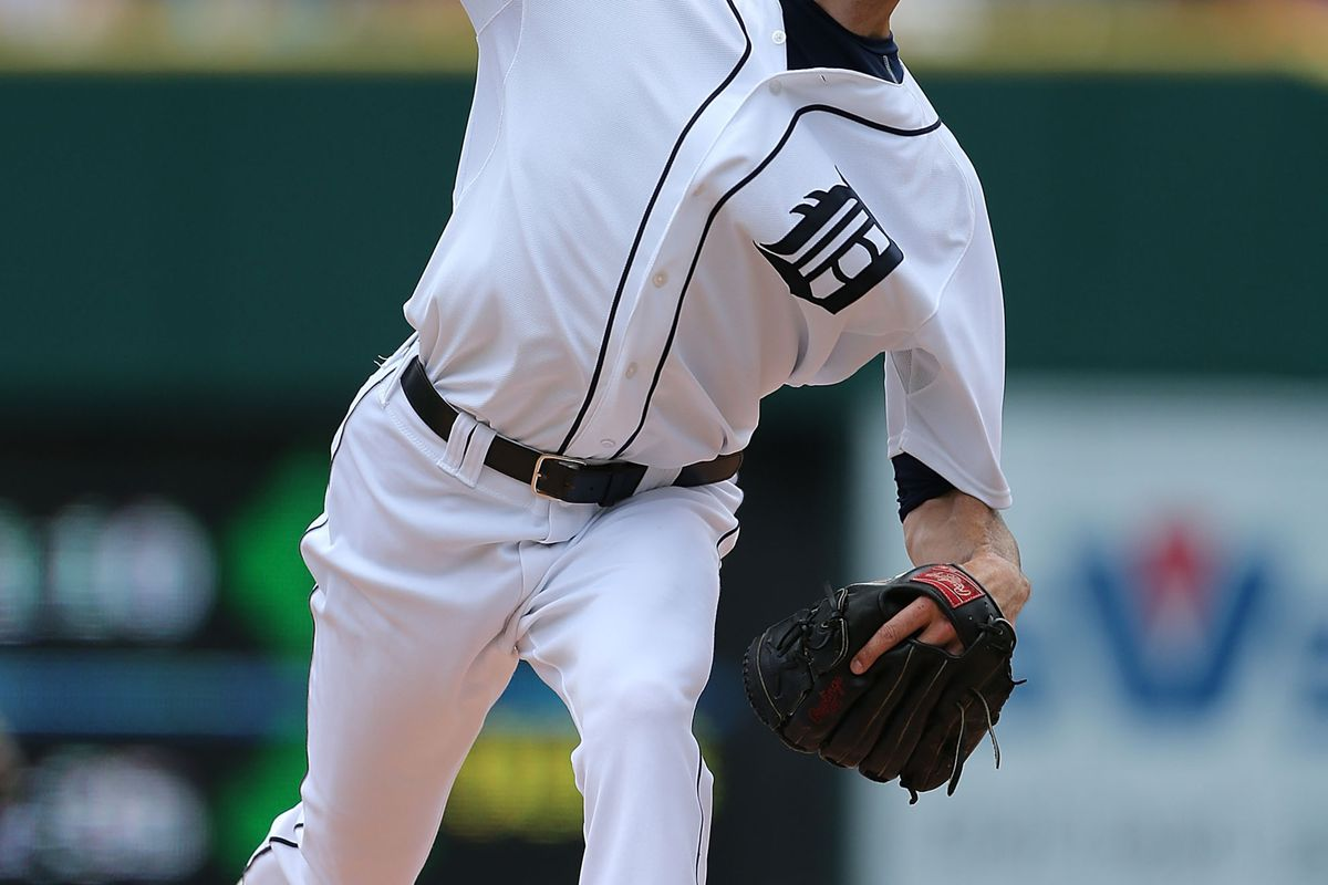 DETROIT, MI - AUGUST 19:  Doug Fister #58 of the Detroit Tigers pitches in the first inning during the game against the Baltimore Orioles at Comerica Park on August 19, 2012 in Detroit, Michigan.  (Photo by Leon Halip/Getty Images)