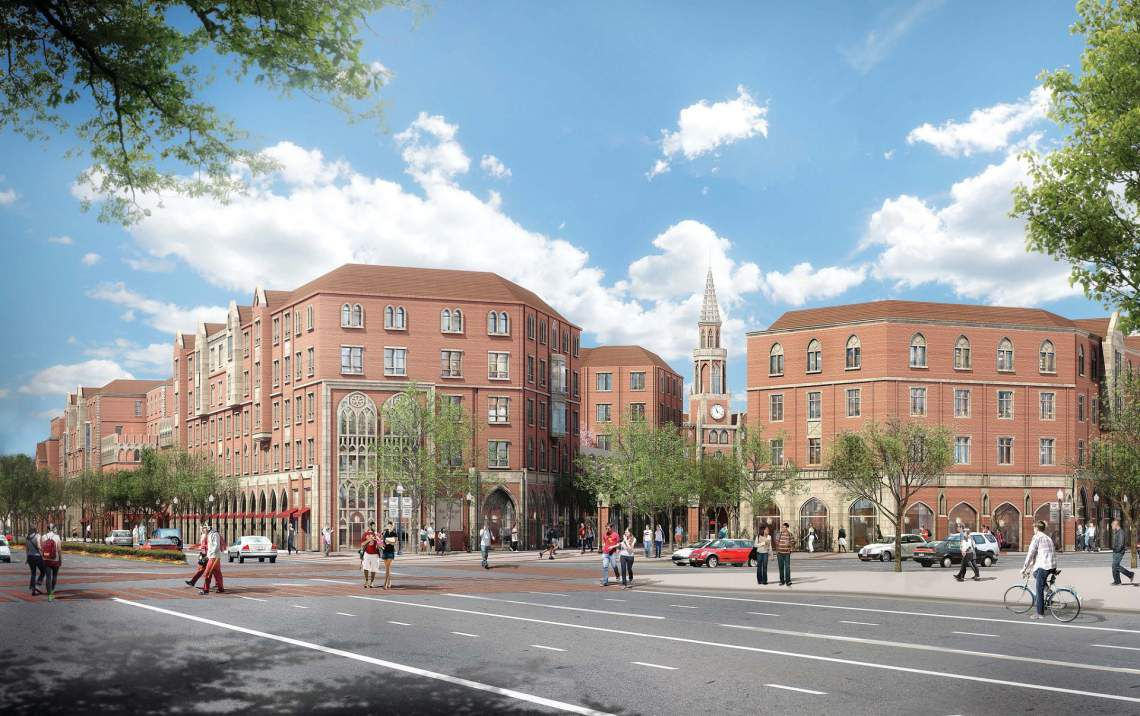 A rendering for the brick buildings of USC Village.
