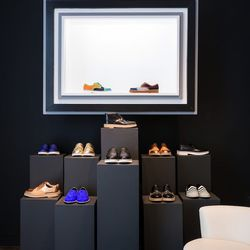Kirkwood's first mens collection was just released this past winter and now includes colorful derbys and graphic slippers, which are all available at the pop-up.