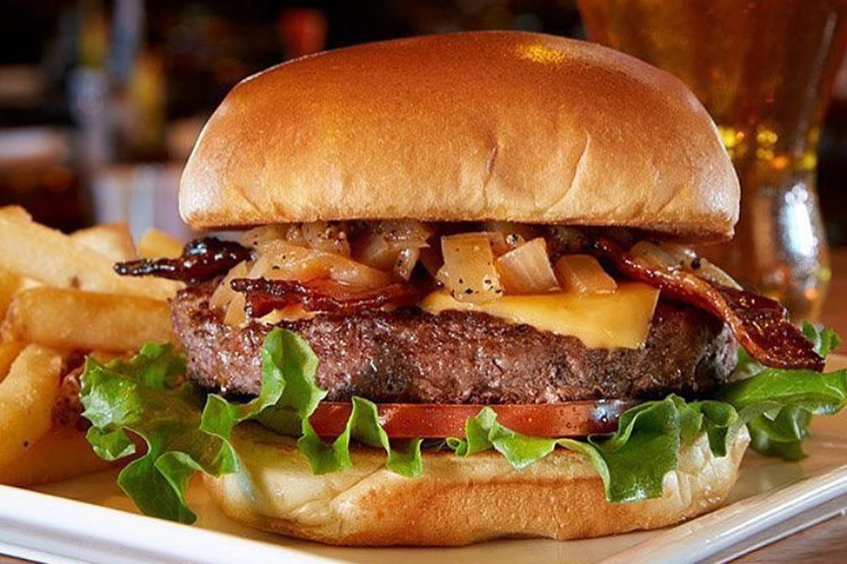 A burger at Tilted Kilt, now closed in Fenway