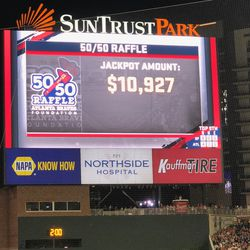 Record attendance, and the 50/50 Raffle Jackpot is about half of the Giants on an average weeknight. Points: -5