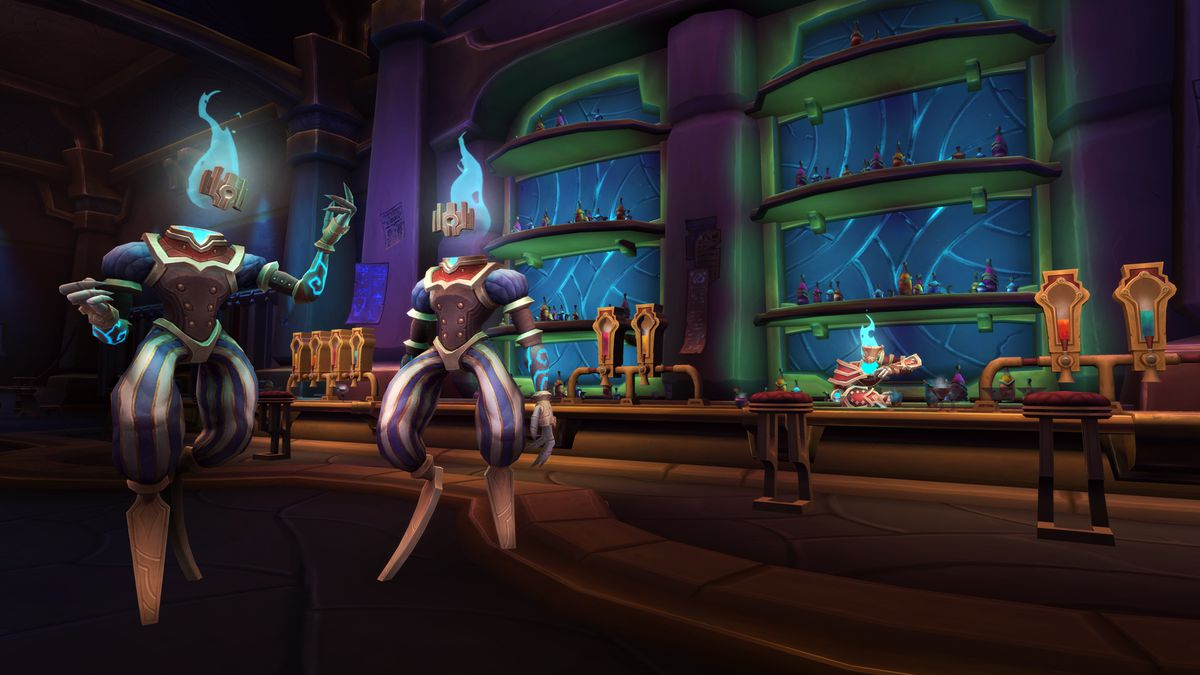 World of Warcraft - the Brokers, a race of magical candle people, stand and chat in the middle of the Veiled Market
