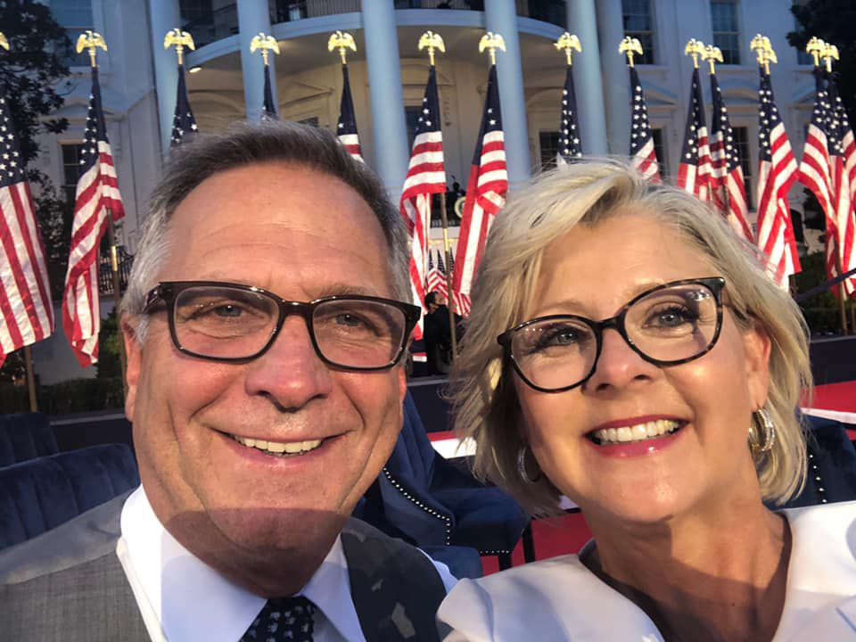Rep. Mike Bost, R-Ill., and his wife, Tracy, at the White House in August to hear President Donald Trump accept the nomination during the Republican National Convention.