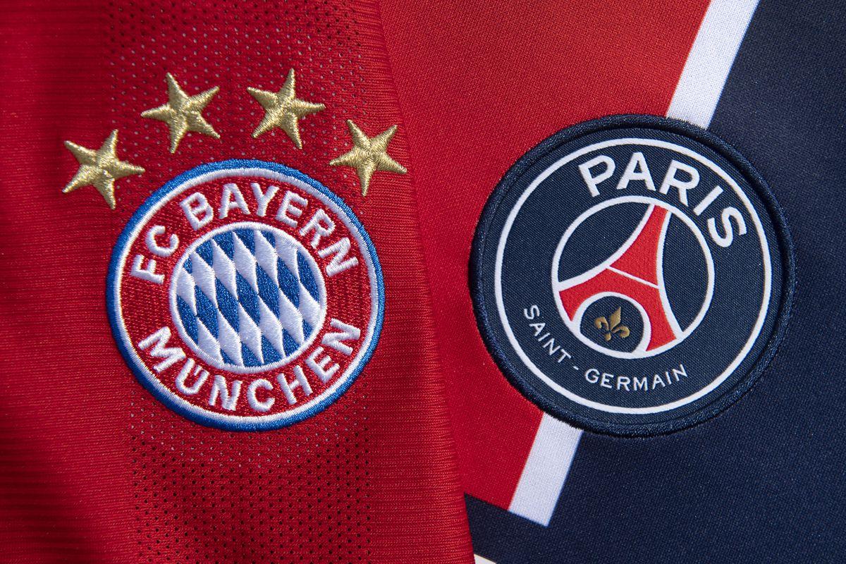 The FC Bayern Munich and Paris Saint-Germain Club Badges