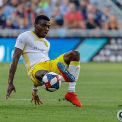 July 10, 2019 - Saint Paul, Minnesota, United States - New Mexico United midfielder Saalih Muhammad (16) plays the ball while going to ground during the quarter-final match of the US Open Cup between Minnesota United and New Mexico United at Allianz Field.