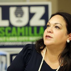 Salt Lake City mayoral candidate Luz Escamilla watches election results roll in during a primary election party at the Utah State Fairpark in Salt Lake City on Tuesday, Aug. 13, 2019.
