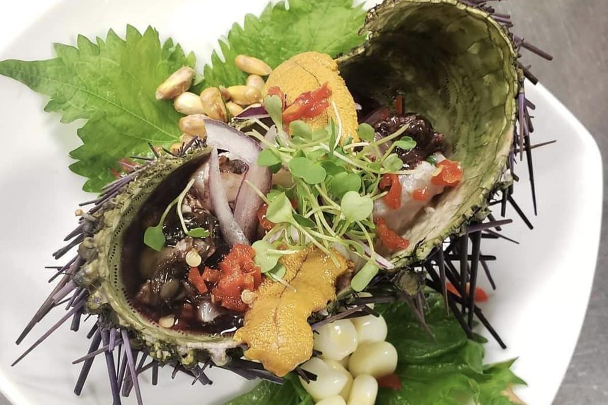 Sea urchin ceviche at Ceviche Stop.