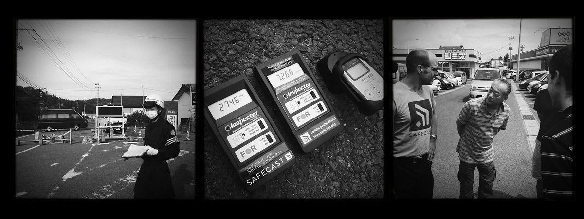 Set of three black and white photos taken in Fukushima following the 2011 tsunami and nuclear disaster. On the left: A police officer at a blockade wearing a surgical mask. In the middle: Safecast Geiger counters displaying readings. On the right: Safecast members talking to a man in the middle of a road.