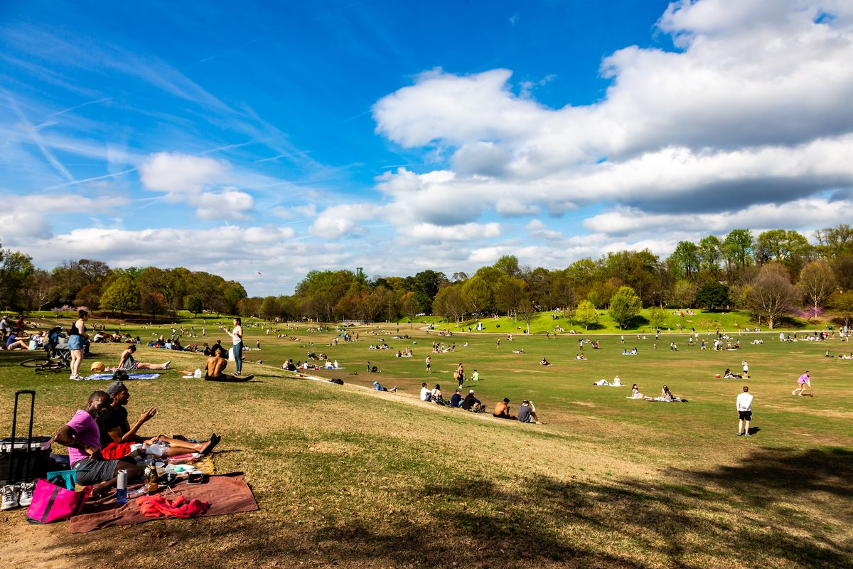 Picnickers at the meadow in Piedmont Park on March 21, in Atlanta