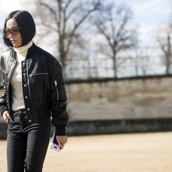 Leather bomber jackets and turtleneck hair in Paris.