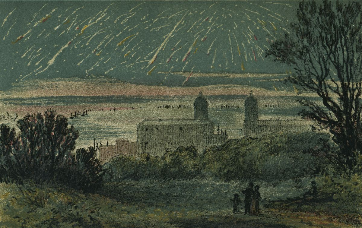 In this picture, a group observes the Leonids meteor shower over London in the 1860s.