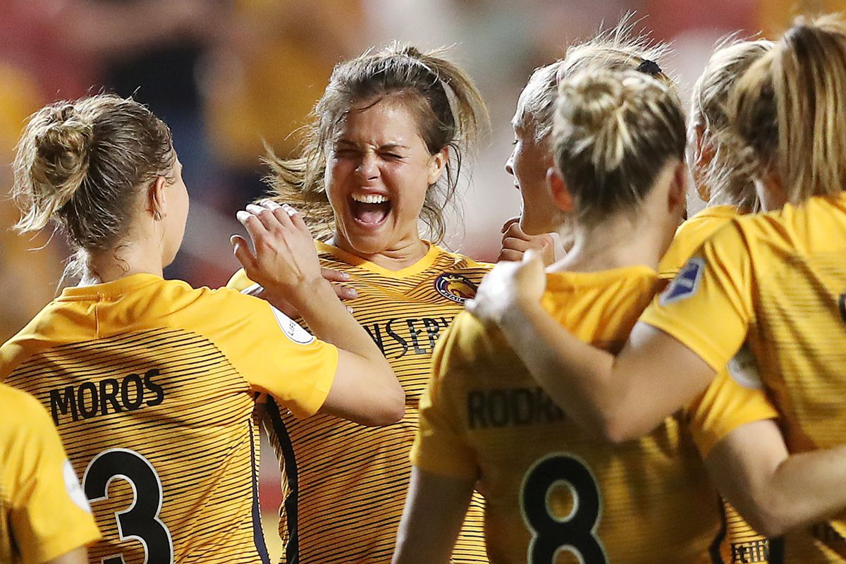 Utah Royals FC forward Katie Stengel (24) celebrates after the match with teammates as the Utah Royals defeat the Washington Spirit 1-0 at Rio Tinto Stadium in Sandy on Wednesday, Aug. 8, 2018. Stengel scored the winning goal.