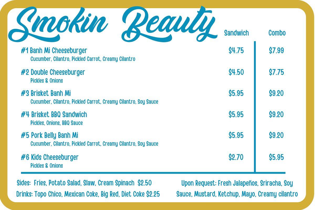 The drive-thru menu of Smokin Beauty