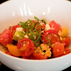 """Tomato salad at Locanda Verde by <a href=""""http://www.flickr.com/photos/37601286@N06/4956512605/in/pool-29939462@N00/"""">gsz</a>"""