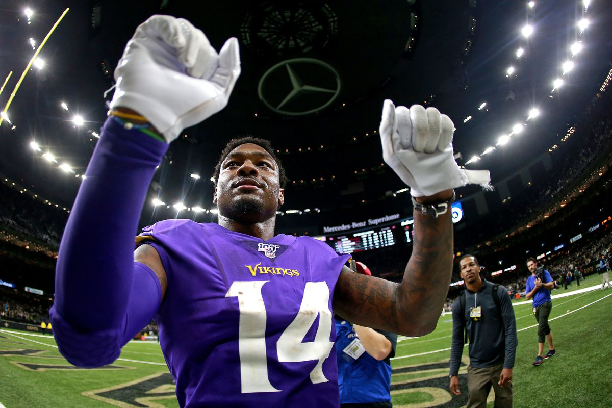 Stefon Diggs #14 of the Minnesota Vikings celebrates after winning the NFC Wild Card Playoff game against the New Orleans Saints at Mercedes Benz Superdome on January 05, 2020 in New Orleans, Louisiana.